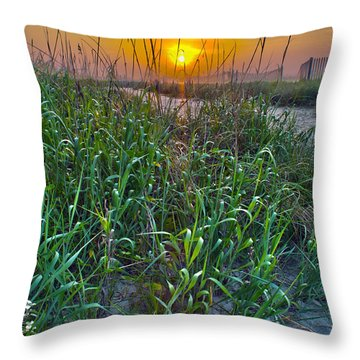 Throw Pillow featuring the photograph Sunrise At Myrtle Beach by Alex Grichenko