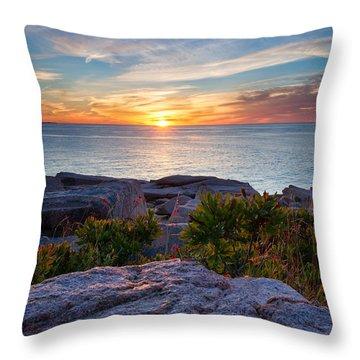 Sunrise At Otter Cliffs Throw Pillow
