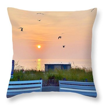 Sunrise At Rehoboth Beach Boardwalk Throw Pillow