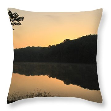 Sunrise At Rose Lake Throw Pillow by Julie Andel