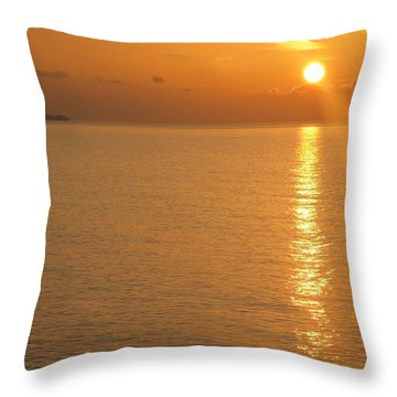 Throw Pillow featuring the photograph Sunrise At Sea by Photographic Arts And Design Studio