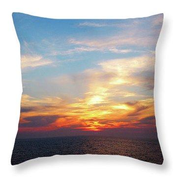 Sunrise At Sea Throw Pillow by Susan Savad