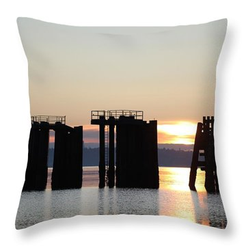 Throw Pillow featuring the photograph Southworth Ferry Pilling At Dawn by E Faithe Lester