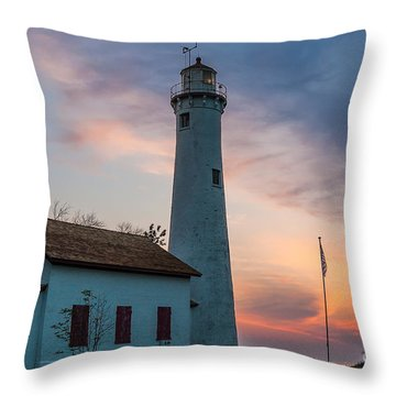 Throw Pillow featuring the photograph Sunrise At Sturgeon Point by Patrick Shupert