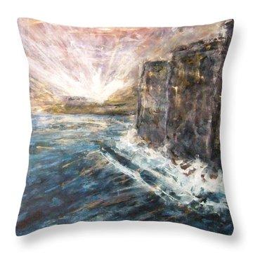 Sunrise At Tal-gurdan Cliffs Throw Pillow by Marco Macelli