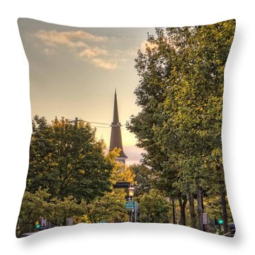 Throw Pillow featuring the photograph Sunrise At The End Of The Street by Daniel Sheldon