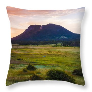 Sunrise At The Horseshoe Park Of The Colorado Rockies Throw Pillow by Ellie Teramoto