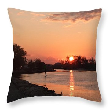 Sunrise At The North Jetty Throw Pillow