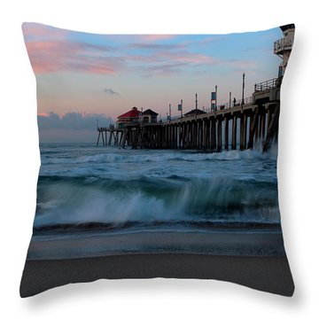 Sunrise At The Pier Throw Pillow by Duncan Selby