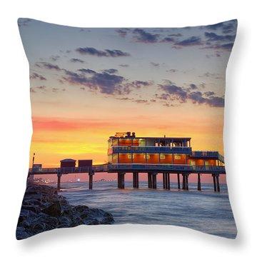 Sunrise At The Pier - Galveston Texas Gulf Coast Throw Pillow