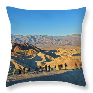Throw Pillow featuring the photograph Sunrise At Zabriskie Point - Death Valley by Dana Sohr