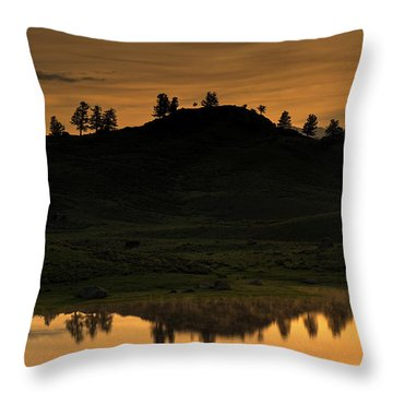Sunrise Behind A Yellowstone Ridge Throw Pillow