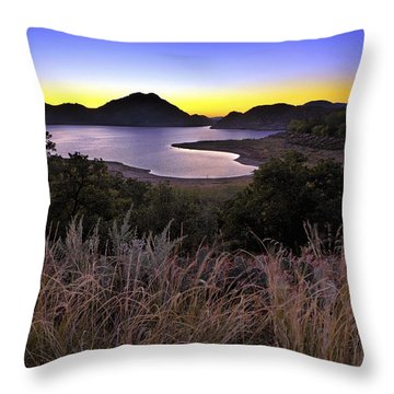 Sunrise Behind The Quartz Mountains - Oklahoma - Lake Altus Throw Pillow