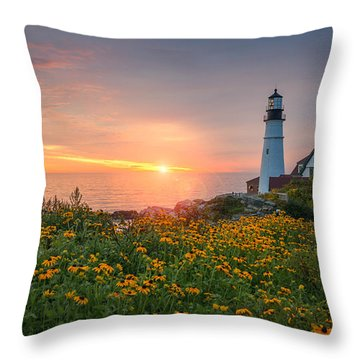 Sunrise Bliss At Portland Lighthouse Throw Pillow