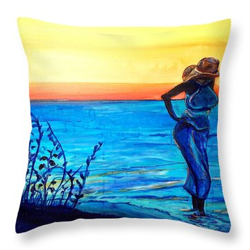 Throw Pillow featuring the painting Sunrise Blues by Ecinja Art Works