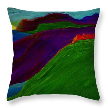 Throw Pillow featuring the painting Sunrise Castle By Jrr by First Star Art