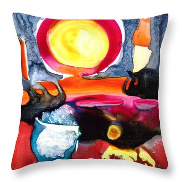 Throw Pillow featuring the painting Sunrise by Catherine Redmayne