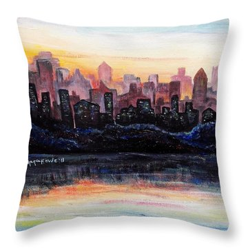 Throw Pillow featuring the painting Sunrise City by Shana Rowe Jackson