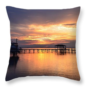 Sunrise Colors On The Sound Throw Pillow by Jeff at JSJ Photography