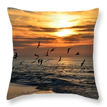 Sunrise Colors Over Navarre Beach With Flock Of Seagulls Throw Pillow by Jeff at JSJ Photography