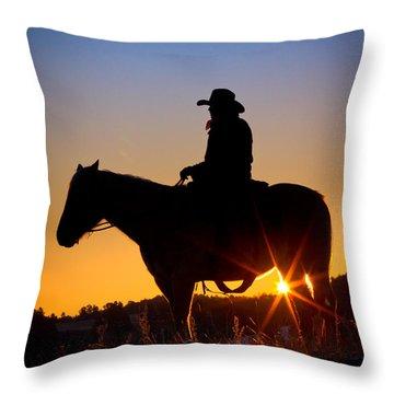 Sunrise Cowboy Throw Pillow by Inge Johnsson