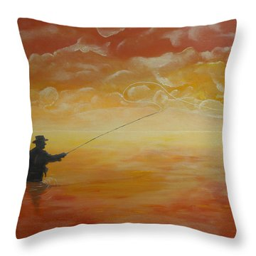 Sunrise Fishing Throw Pillow by Donna Blackhall