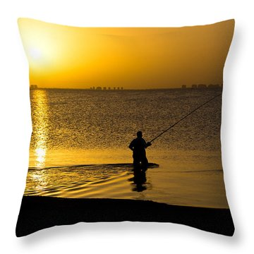 Sunrise Fishing Throw Pillow by Scott Carruthers