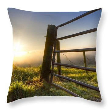 Sunrise  Gate Throw Pillow by Debra and Dave Vanderlaan