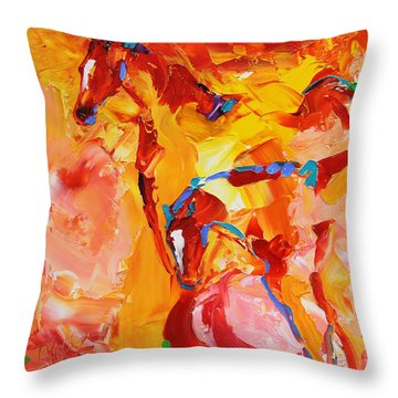 Sunrise Graze Horse 25 2014 Throw Pillow