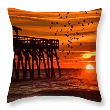 Sunrise In Myrtle Beach With Birds Flying Around The Pier Throw Pillow