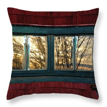 Throw Pillow featuring the photograph Sunrise In Old Barn Window by Susan Capuano