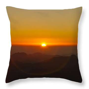 Throw Pillow featuring the pyrography Sunrise In Sinai Mountains by Julis Simo