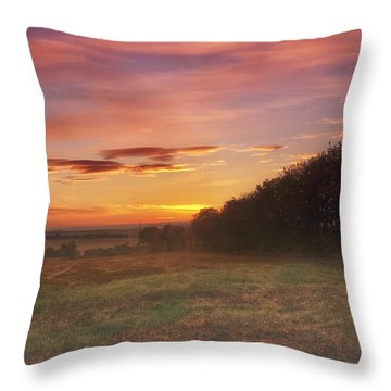 Sunrise In The Fields Throw Pillow