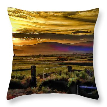 Sunrise In The Valley Throw Pillow