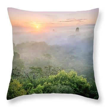 Sunrise In Tikal Throw Pillow