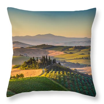 A Golden Morning In Tuscany Throw Pillow