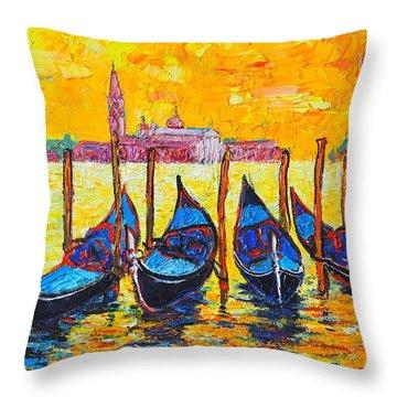 Sunrise In Venice Italy Gondolas And San Giorgio Maggiore Throw Pillow by Ana Maria Edulescu