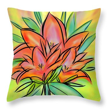 Sunrise Lily Throw Pillow by Christine Fournier