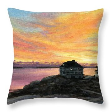 Sunrise Long Beach Rockport Ma Throw Pillow by Eileen Patten Oliver