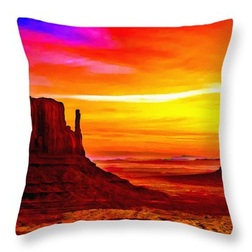 Sunrise Monument Valley Mittens Throw Pillow