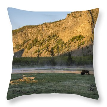 Sunrise Mt. Hayes Yellowstone National Park Throw Pillow