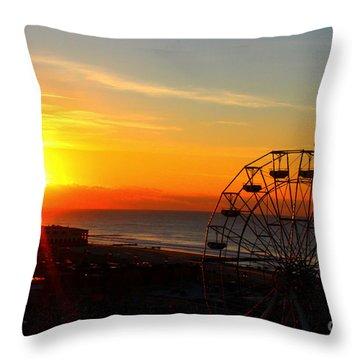 Sunrise Ocean City Boardwalk Throw Pillow