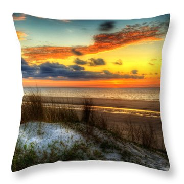 Throw Pillow featuring the photograph Sunrise On A Jekyll Island Dune by Greg and Chrystal Mimbs