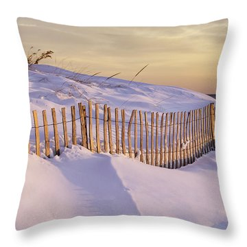 Sunrise On Beach Fence Throw Pillow by Betty Denise