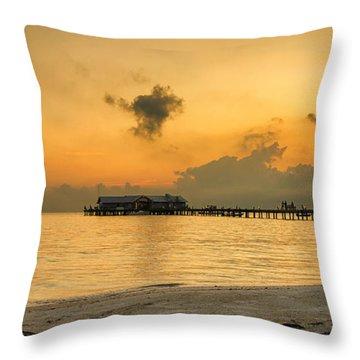 Sunrise On City Pier Throw Pillow