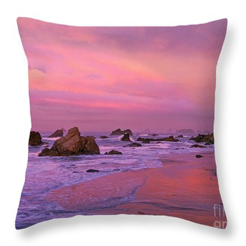 Throw Pillow featuring the photograph Sunrise On Sea Stacks Harris Sb Oregon by Dave Welling