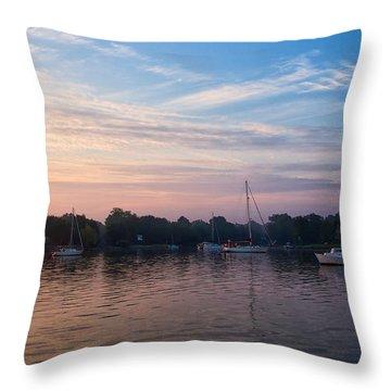 Sunrise On St. Michaels Md Harbor Throw Pillow