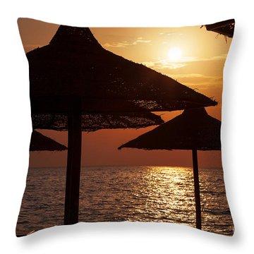 Sunrise On The Beach Throw Pillow by Jane Rix