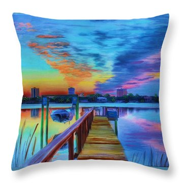 Sunrise On The Dock Throw Pillow