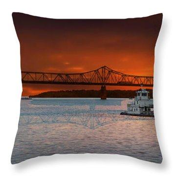 Sunrise On The Illinois River Throw Pillow by Thomas Woolworth